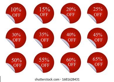12 round red discount stickers