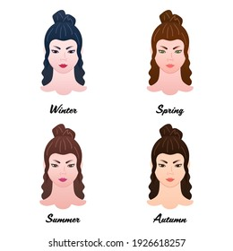 12 seasonal color types. Four colour types of asian women appearances. Winter, Spring, Summer and Autumn - set of vector isolated lady heads with best lipstick tones