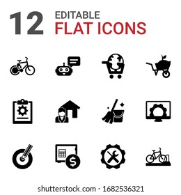 12 service filled icons set isolated on white background. Icons set with bike sharing, Chat Bot, eLearning, project, Real estate service, Garden services, Target keywords icons.