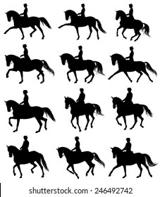 12 silhouettes of horses with rider performing dressage movements