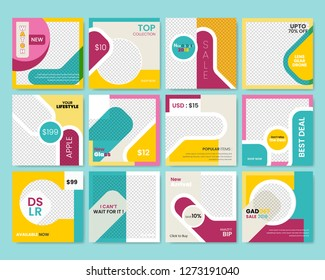 12 Slides Unique Editable modern Social Media banner Template.Anyone can use This Design Easily.Promotional square web banner for social media. Elegant sale and discount promo - Vector.