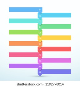 12 Step Arrow List Colorful Banners Infographic Diagram