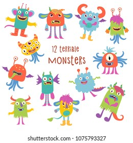 12 terribly cute monsters. Cartoon characters on white background.
