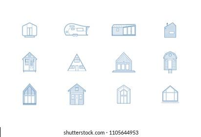 12 Tiny House Blue Line Icon Set