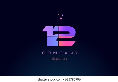12 twelve pink blue purple number digit numeral dots creative company logo vector icon design template