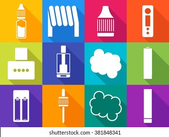 12 vaping stuff one color icons with long shadows set