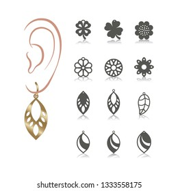 12 vector designs of earring. Cutout silhouette with floral pattern. Template is suitable for creating fashion & charm women jewellery: earrings, necklace or bracelet.