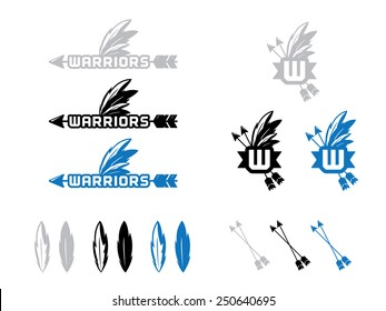 12 Warrior Icon and Marks in Gray, Black and Blue.