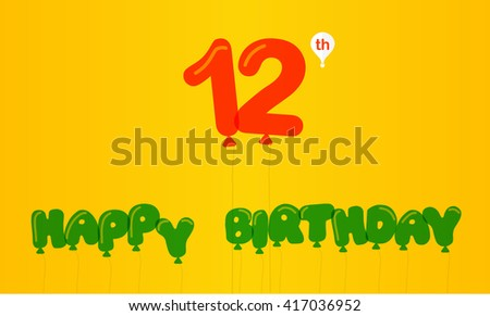 12 Year Birthday Celebration Flat Color Stock Vector Royalty Free