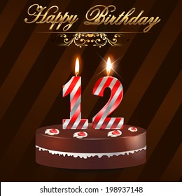 Outstanding 12 Birthday Candles Images Stock Photos Vectors Shutterstock Personalised Birthday Cards Cominlily Jamesorg