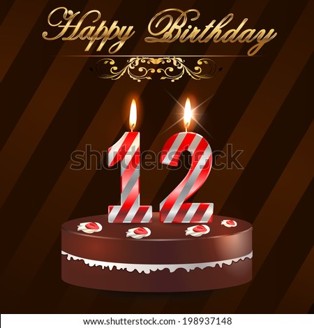 12 Year Happy Birthday Card With Cake And Candles 12th