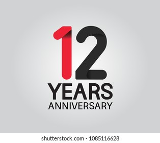 12 years anniversary black and red soft color for company celebration isolated on white background