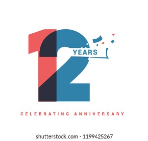 12 years anniversary celebration colorful logo with fireworks on white background. 12th anniversary logotype template design for banner, poster, card vector illustrator