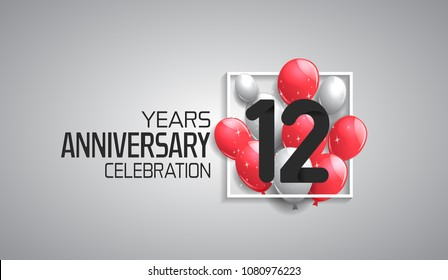 12 years anniversary celebration for company with balloons in square isolated on white background