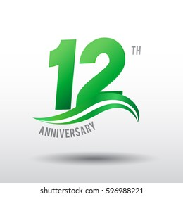 12 Years Anniversary Celebration Design logo