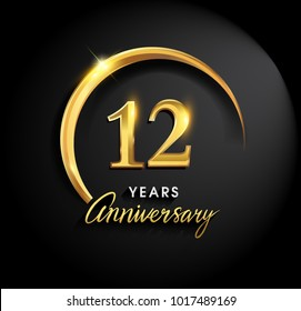 12 years anniversary celebration. Anniversary logo with ring and elegance golden color isolated on black background, vector design for celebration, invitation card, and greeting card