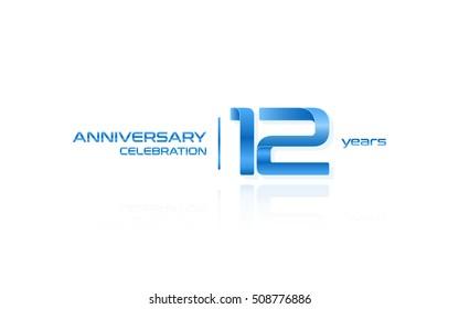 12 years anniversary celebration logo, blue, isolated on white background