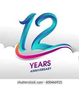 12 Years Anniversary celebration logo, birthday vector design