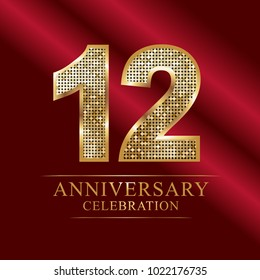 12 years anniversary celebration logotype red background.