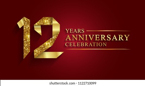 12 years anniversary celebration logotype style gift paper. Logo ribbon golden number on red background.