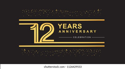 12 years anniversary celebration logotype with golden multiple line and confetti golden color isolated on black background, vector design for greeting card and invitation card