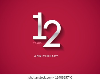 12 years anniversary celebration logotype with silver color isolated on Red background