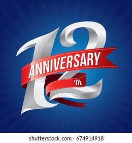 12 years anniversary celebration logotype. 12th silver number with red ribbons on blue background