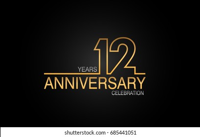 12 years anniversary celebration logotype. anniversary logo with golden and silver color isolated on black background, vector design for celebration, invitation card, and greeting card