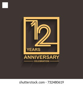 12 years anniversary celebration logotype style linked line in the square with golden color. vector illustration isolated on dark background