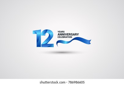 12 Years Anniversary celebration logotype colored with shiny blue, using ribbon and isolated on white background