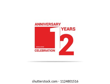 12 Years Anniversary celebration simple red design logo type. silhouette number inside white box vector illustration.