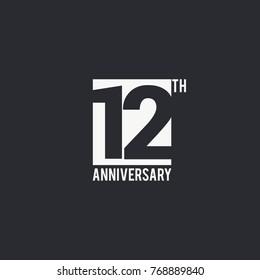 12 Years Anniversary celebration simple design. silhouette number inside white box vector illustration. logo type