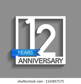 12 years anniversary celebration square style blue ribbon isolated on gray background
