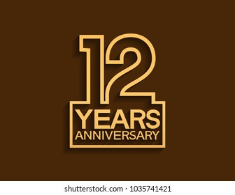 12 years anniversary design line style with square golden color for celebration event