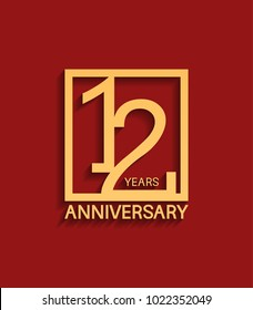 12 years anniversary design logotype golden color in square isolated on red background for celebration event