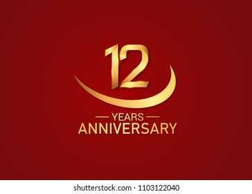 12 years anniversary design with swoosh golden color isolated on red background for celebration