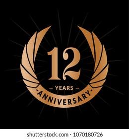 12 years anniversary. Elegant anniversary design. 12 years logo.