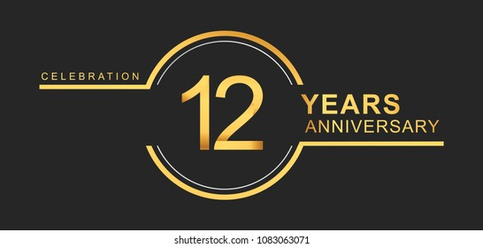 12 years anniversary golden and silver color with circle ring isolated on black background for anniversary celebration event