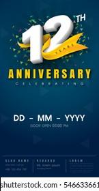 12 years anniversary invitation card - celebration template  design , 12th anniversary modern design elements, dark blue  background - vector illustration
