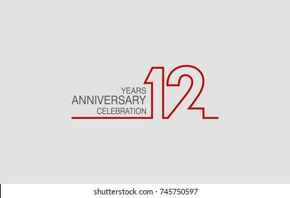 12 years anniversary linked logotype with red color isolated on white background for company celebration event