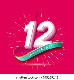 12 years anniversary logo celebration with firework and ribbon
