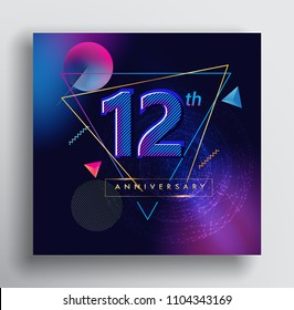 12 Years Anniversary Logo with Colorful Galactic background, Vector Design Template Elements for Invitation Card and Poster Your Birthday Celebration.