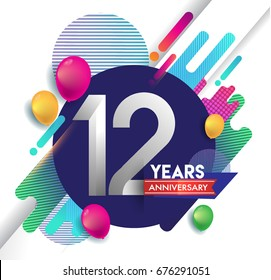 12 years Anniversary logo with colorful abstract background, vector design template elements for invitation card and poster your birthday celebration.
