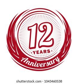 12 years anniversary. Anniversary logo design. 12 years logo.