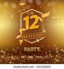 12 years anniversary logo template on gold background. 12th celebrating golden numbers with red ribbon vector and confetti isolated design elements