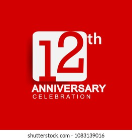 12 years anniversary logo with white square isolated on red background simple and modern design for anniversary celebration.