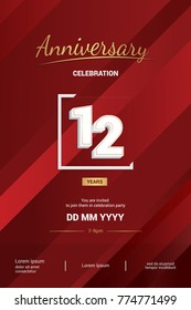 12 Years Anniversary Logotype with 3d white number isolated on red abstract background