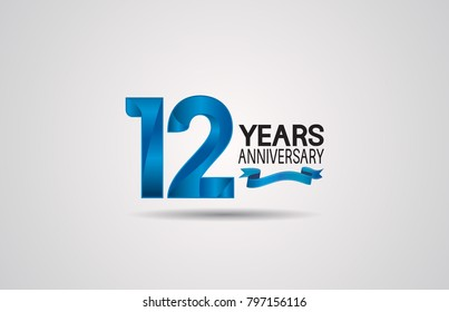 12 years anniversary logotype design with blue color and ribbon isolated on white background for celebration event