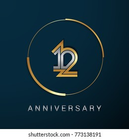 12 Years Anniversary Logotype with  Gold and Silver Multi Linear Number in a Golden Circle , Isolated on Dark Background