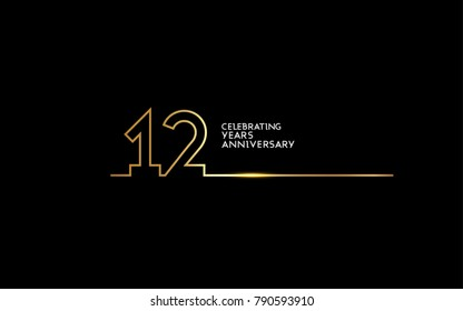 12 Years Anniversary logotype with golden colored font numbers made of one connected line, isolated on black background for company celebration event, birthday